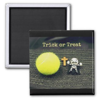 Tennis Halloween with ghost trick or treat Magnet