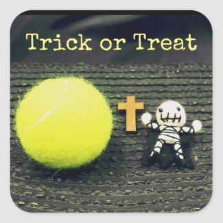 Tennis Halloween with ghost trick or treat Square Sticker