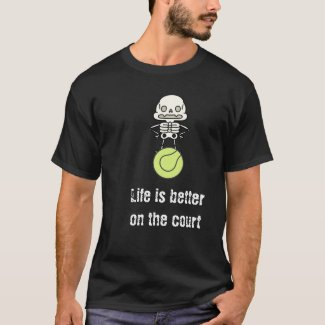 Tennis Halloween with skeleton and ball at court T-Shirt