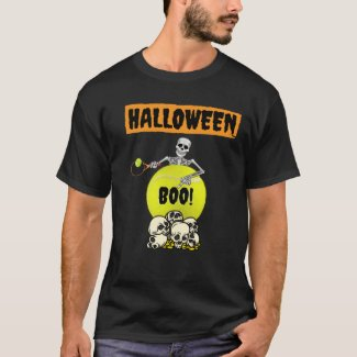 Tennis Halloween with skeleton playing tennis  T-S T-Shirt