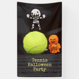 Tennis Halloween with tennis ball and ghost Banner