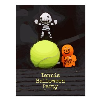 Tennis Halloween with tennis ball and ghost Banner Postcard