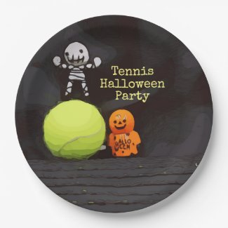 Tennis Halloween with tennis ball and ghost Paper Plate