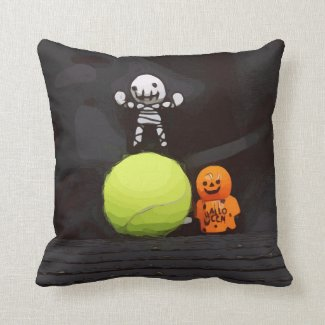 Tennis Halloween with tennis ball and ghost Throw Pillow