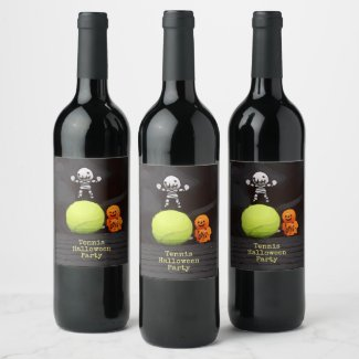 Tennis Halloween with tennis ball and ghost Wine Label