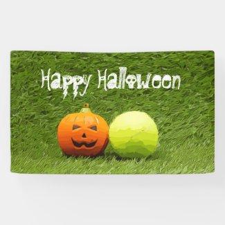 Tennis Halloween with tennis ball and pumpkin Banner