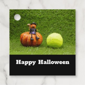 Tennis Halloween with tennis ball and pumpkin Favor Tags