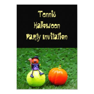 Tennis Halloween with tennis ball on green grass Invitation