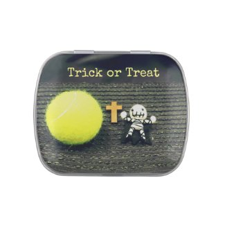 Tennis Halloween with tennis ball trick or treat Candy Tin