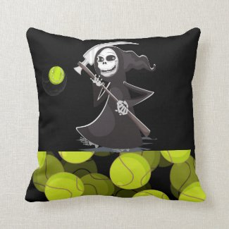 Tennis Halloween with Witch playing Tennis Throw Pillow