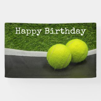 Tennis Happy Birthday Tennis ball Banner