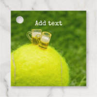 Tennis Happy Birthday Tennis ball with beer Favor Tags