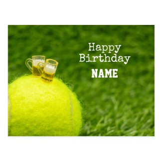 Tennis Happy Birthday Tennis ball with beer Postcard