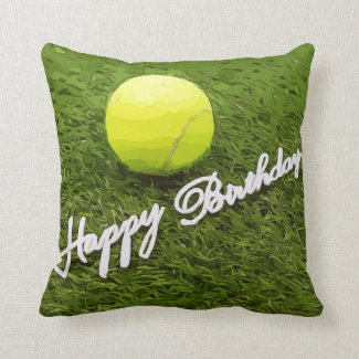 Tennis Happy Birthday Throw Pillow