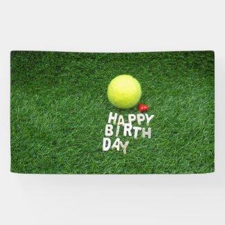 Tennis Happy Birthday with love heart Banner