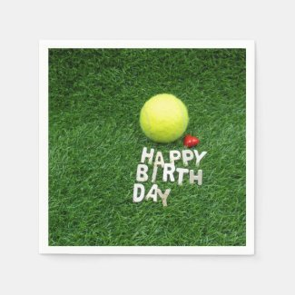 Tennis Happy Birthday with love heart Napkins
