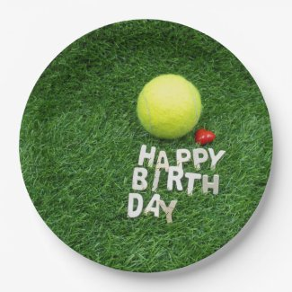 Tennis Happy Birthday with love heart Paper Plate