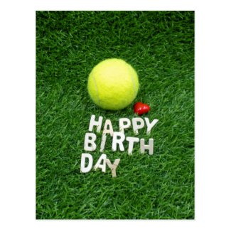 Tennis Happy Birthday with love heart shape Card