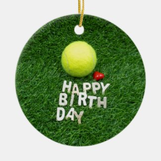 Tennis happy birthday with love on green grass ceramic ornament