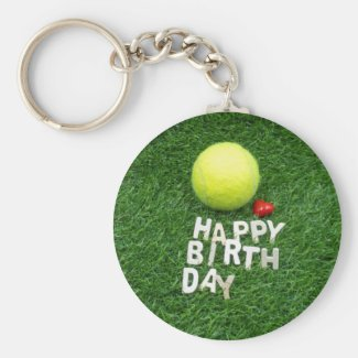 Tennis happy birthday with love on green grass keychain