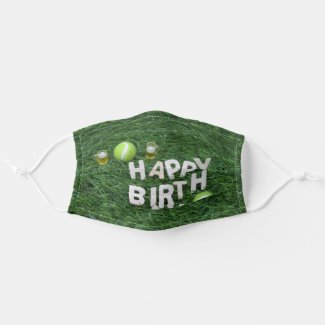 Tennis Happy Birthday With tennis ball on grass Adult Cloth Face Mask