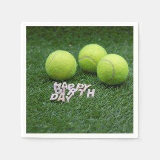 Tennis Happy Birthday with tennis balls on green Napkins