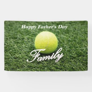 Tennis Happy Father's Day Family and tennis ball Banner