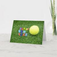 Tennis happy New Year & tennis ball and Santa hat Holiday Card