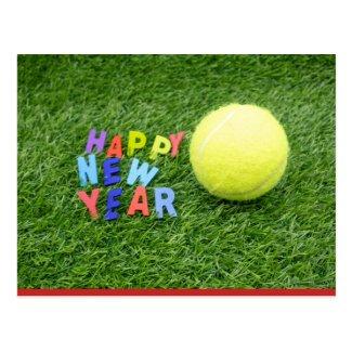 Tennis happy New Year & tennis ball Postcard