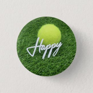 Tennis happy with tennis ball on green grass button