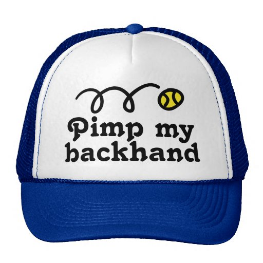Tennis hat with funny slogan and bouncing ball