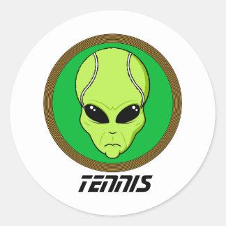 Tennis Head Alien Classic Round Sticker