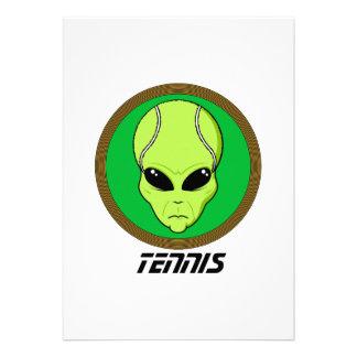Tennis Head Alien Personalized Invitation