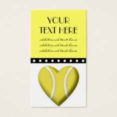 Tennis Heart Business Card at Zazzle
