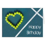 Tennis heart happy Birthday personalized Card