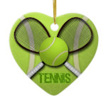 TENNIS HEART ORAMENT CERAMIC ORNAMENT