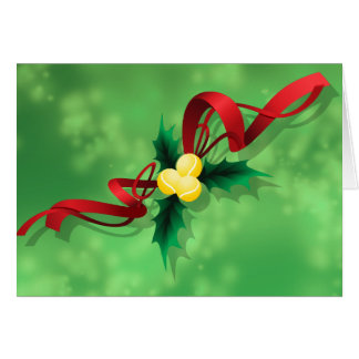 Tennis Holly Christmas Card