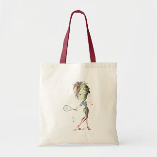 Tennis in red stiletto shoes art budget tote bag