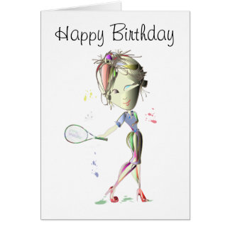 Tennis in red stiletto shoes art greeting card