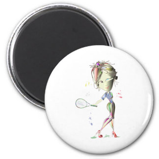 Tennis in red stiletto shoes art magnet