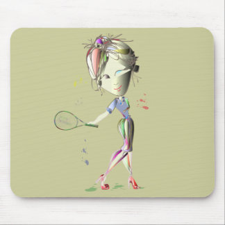 Tennis in Red Stiletto Shoes Art Mouse Pad