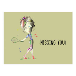 Tennis in Red Stiletto Shoes Art Postcard