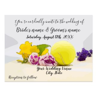 Tennis invitation with ball and flowers postcard