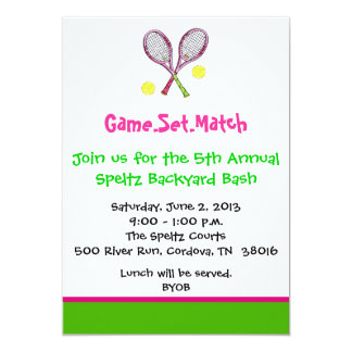 "Tennis Invitations 5"" X 7"" Invitation Card"