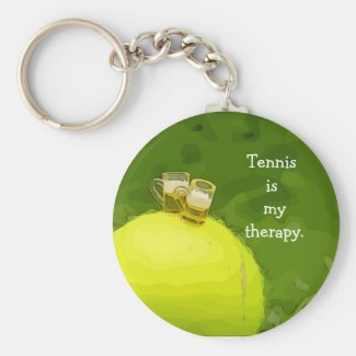 Tennis is my therapy with tennis ball and beer keychain