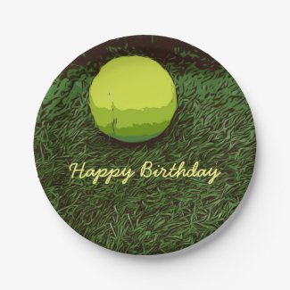 Tennis is on green grass Happy Birthday Paper Plate