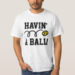 Tennis joke on t-shirt for players and enthusiasts