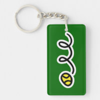Tennis keychain with bouncing tennis ball
