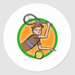 Tennis Kid Classic Round Sticker