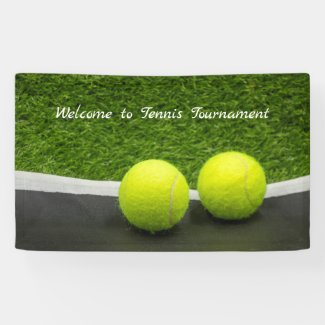 Tennis label on black and green background banner